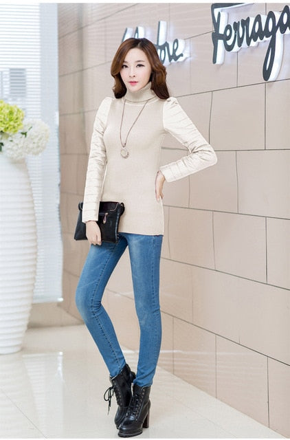 hot sell Women's vest down cotton turtleneck sweater sleeves thickening sweater basic female PU sleeve patchwork winter sweater-lilugal