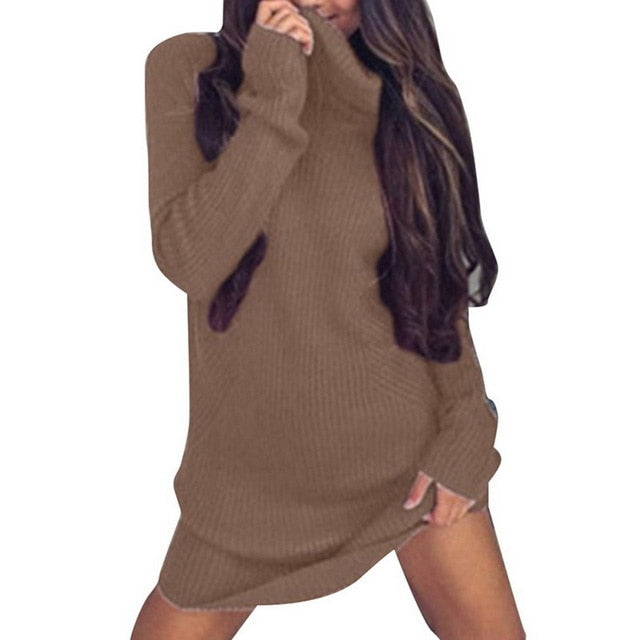 Winter Long Sweater Dress Women's Turtleneck Sweaters Pullover Female Knitted Lady's Sweater Pullover Women Solid Turtleneck-lilugal