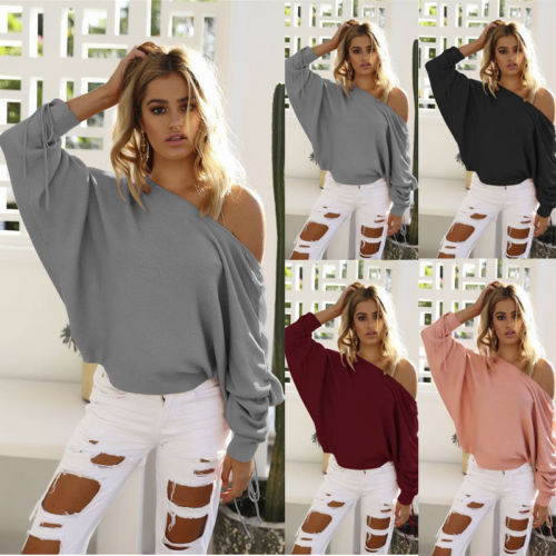 10591e1e96 Women Sexy Off Shoulder Long Sleeve Knitted Loose Sweaters Autumn Winter  Grey Pink Black Outwear Sweater