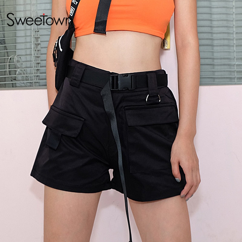 Sweetown High Waisted Plus Size Shorts For Women Black/White/Khaki Cotton Womens Shorts Summer Short Femme Ete 2018 Streetwear-lilugal