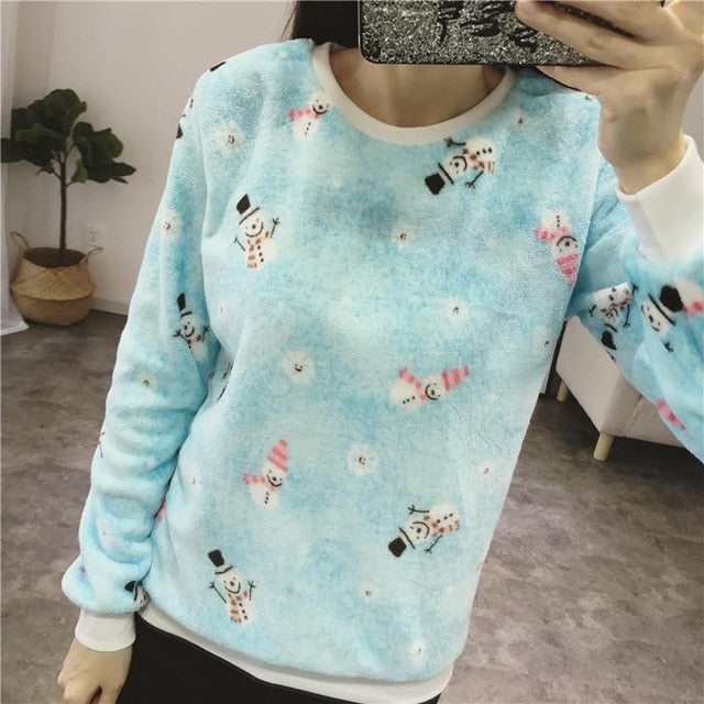 Women's sweater casual O-neck long-sleeved print Fleece warm sweater 2018 fashion sweet and self-cultivation women's tops tide-lilugal
