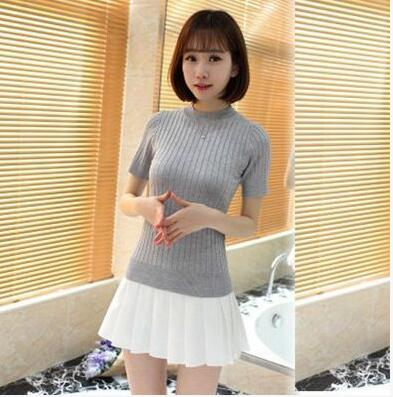 VANLED 2018 Autumn Winter Solid Knitted Base Sweater Pullovers Women Jumper Short Sleeve Female Tricot Pull Femme Tops Sweaters-lilugal