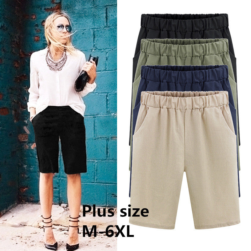 2018 Summer women shorts Loose Cotton Solid Color casual shorts womens plus size M-6XL short pants-lilugal
