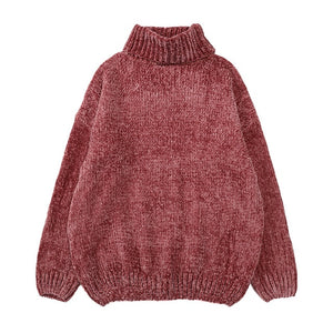 High quality vintage chenille velvet lady's sweater Wind Gold Velvet Neil turtleneck jumperknitted sweater for women oversized-lilugal