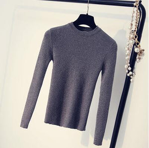 Bright Lurex Sweater Fitness Women Spring Autumn Winter Full Sleeves Tight Top Shirt Sweaters O-neck Hot Sale-lilugal