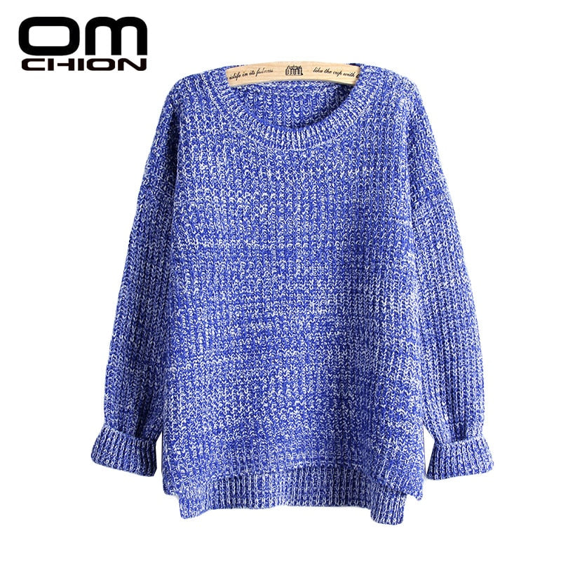 OMCHION Sueter Mujer 2018 Autumn Winter Fashion Split Swallowtail Female Loose Sweater O Neck Women Sweaters And Pullovers LMY17-lilugal