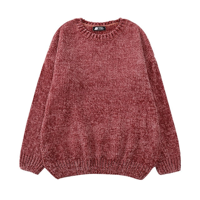 High quality vintage Women chic Gold Velvet knit sweaters o-neck long sleeve chenille pullover sweaters female oversized-lilugal