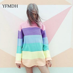 2018 Autumn Winter Women O-neck Knitted Sweaters Candy Color Ice Cream Rainbow Long Sleeve Pullover Casual Pullovers Oversized-lilugal