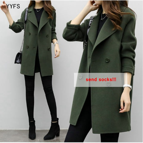 New Korean Woolen Coat 2018 Autumn and Winter Women Clothing Long Loose Slim Cocoon Double-breasted Woolen Coat Trend-lilugal
