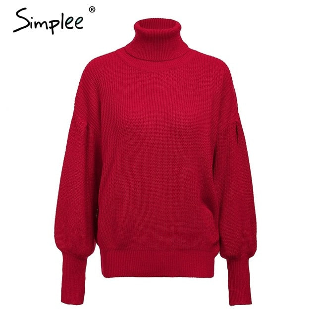 Simplee Turtleneck sweater women pullover Knitted sweaters female 2018 Autumn winter fashion lantern sleeve casual sweater-lilugal