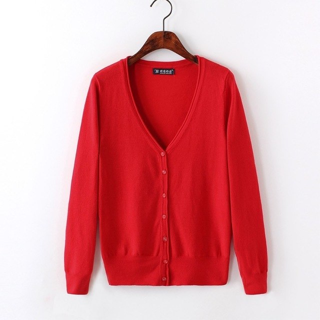 2018 autumn winter cashmere for women casual girl sweater knitted cardigans sexy spring cardigan female red white wool sweater-lilugal