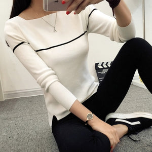 HAO HE SHEN Insert 2018 new spring knit female Korean striped shirt collar sweater slim black and white female-lilugal