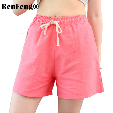 Youth Female Cotton Shorts 2018 Summer Fashion Candy Color Elastic Waist Drawstring Short Pants Woman Casual Plus Size Shorts-lilugal