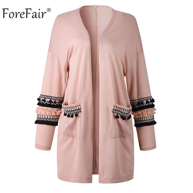 Forefair Tassels Loose Sweater Coat Women 2018 Autumn Warm Outwear Winter Knitted Coat Top Female Long Cardigan Long Sleeve-lilugal