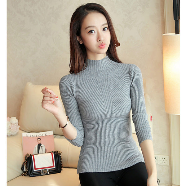 Turtleneck Sweater Women Fashion 2018 Autumn Winter Black Tops Women Knitted Pullovers Long Sleeve Jumper Pull Femme Clothing-lilugal