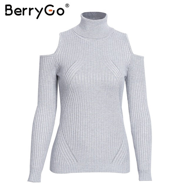 BerryGo Turtleneck cold shoulder pink knitted sweater Women casual cotton striped pullover Female elegant autumn winter jumper-lilugal
