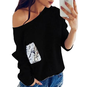 Fashion Women Knit Sweater Sexy Slash Neck Sequined Pocket Pullover Knitted Warm Winter Shirts Jumper Autumn Top Plus Size GV072-lilugal