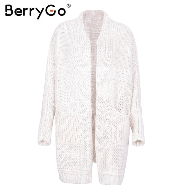 BerryGo Long cardigan female casual loose plus size cardigan 2018 knitted Women sweater ladies autumn winter sweater coat jumper-lilugal