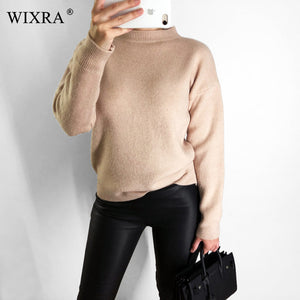 Wixra Spring Autumn Winter Women's Sweaters Long Sleeve O-Neck Knitted Pullover Basic Solid Female Clothing Jumper Tops-lilugal