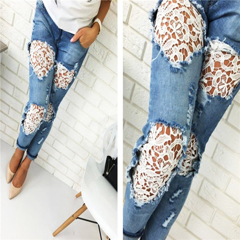 2018 Fashion Women Light Side Women's Lace Stitching Jeans Full Length Pencil Pants Skinny Slim Full Stretch Lace Hollow Jeans-lilugal
