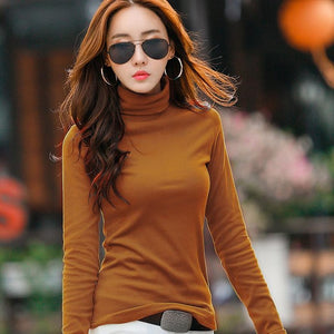 ZHISILAO Woman Turtleneck Sweater Pullover Woman Winter Casual Pullover Sweater Solid Sueter Mujer Pull Femme Top High Elastic-lilugal