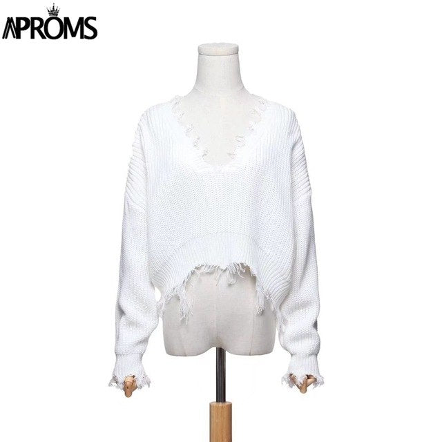 Aproms Tassel Deep V Knitted Pullover Female Autumn Winter White Long Sleeve Knit Crochet Sweaters Women Cropped Jumper Pull Top-lilugal