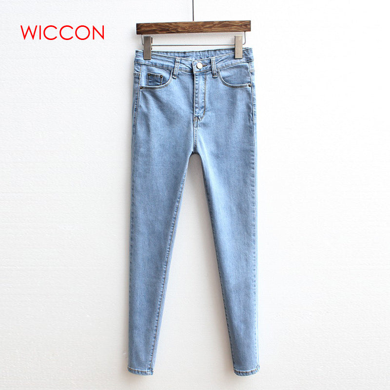 Jeans Women Autumn Vintage High Waist Jeans Woman Basic Denim Trousers Casual Skinny Solid Pants Clothes Denim Pencil Pants-lilugal