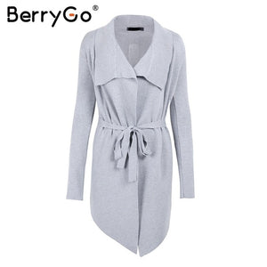 BerryGo Knitted cardigan female 2018 Sash long cardigan winter sweater women jumper Soft casual sweater pull outerwear coats-lilugal