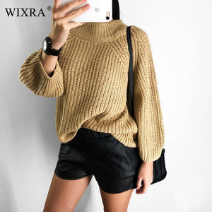 Wixra Casual Women Sweaters 2018 Autumn Winter Solid Sexy Slash Neck Knitted Female Loose Pullovers Sweaters For Ladies-lilugal
