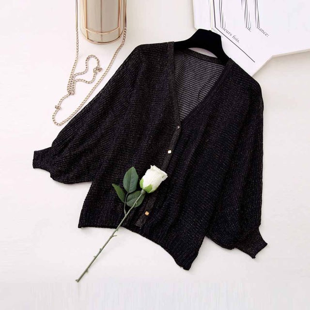 Women Korean Style Fashion Knitwear 2018 Autumn Loose Single-Breasted Plain Batwing Sleeve Hollow Students Casual Active Sweater-lilugal