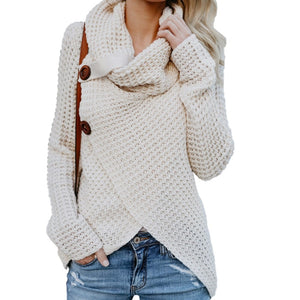 Knitted Women Sweaters Long Sleeve Autumn Female Pullovers Knitting Irregular Button Sweater Plus Size Scarf Collar Tops GV293-lilugal