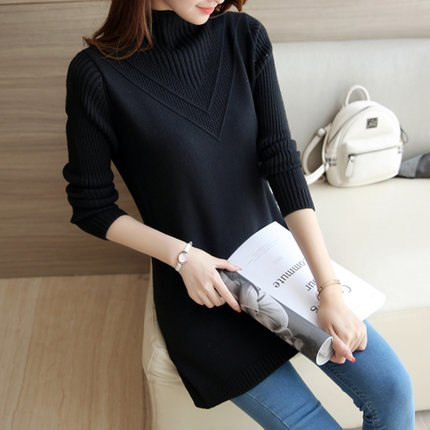 women knitted sweater Autumn winter Fashion Long Sleeve Pullover casual Turtleneck cashmere Elasticity sweater Female Tops LU114-lilugal