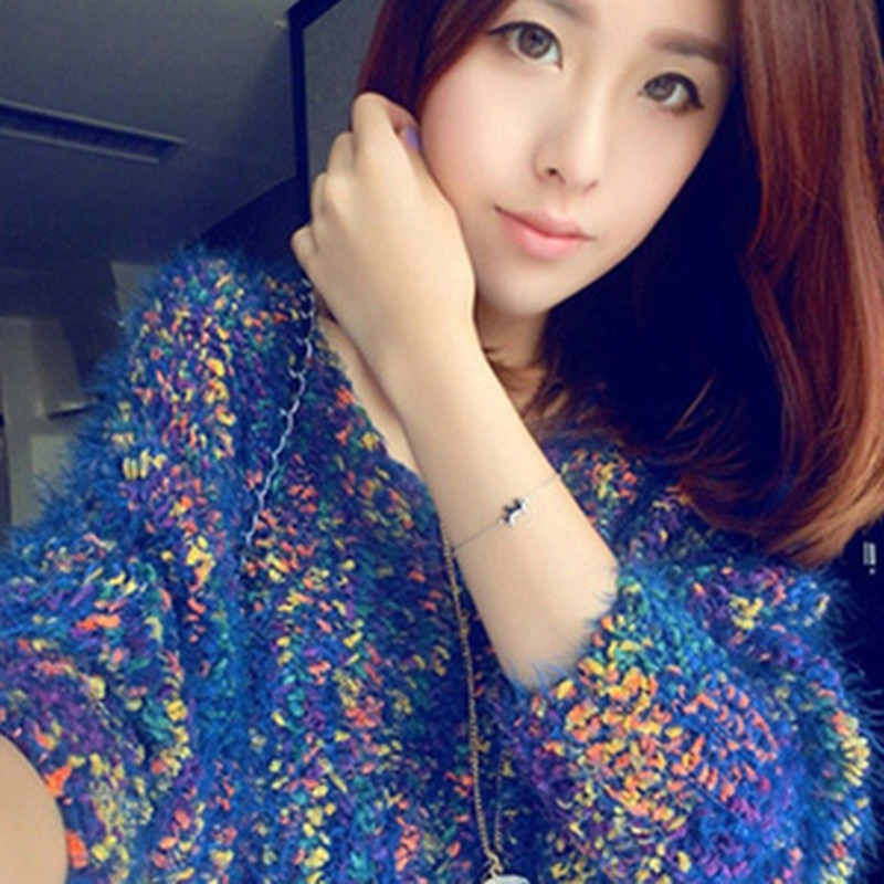 2018 Fall clothing new arrivalcolored hairy mohair sweater hedging bat loose knit Round neck sweater coat female fashion-lilugal