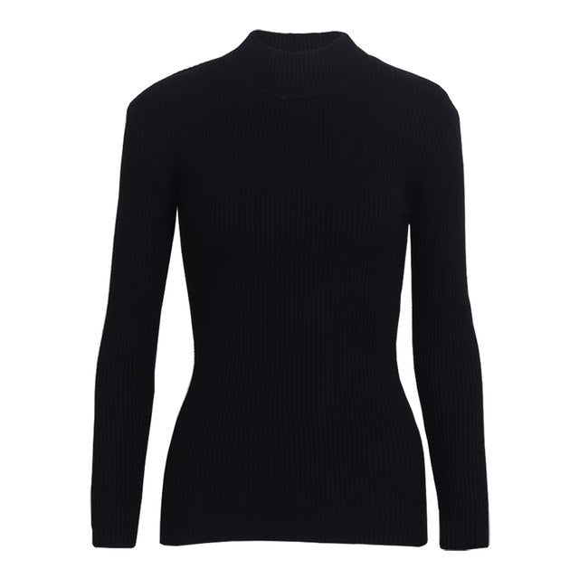 Wixra Autumn Winter Spring Women Turtleneck Sweater Female Pullovers All match Basic Slim Knitted Sweaters Jumpers Tops-lilugal