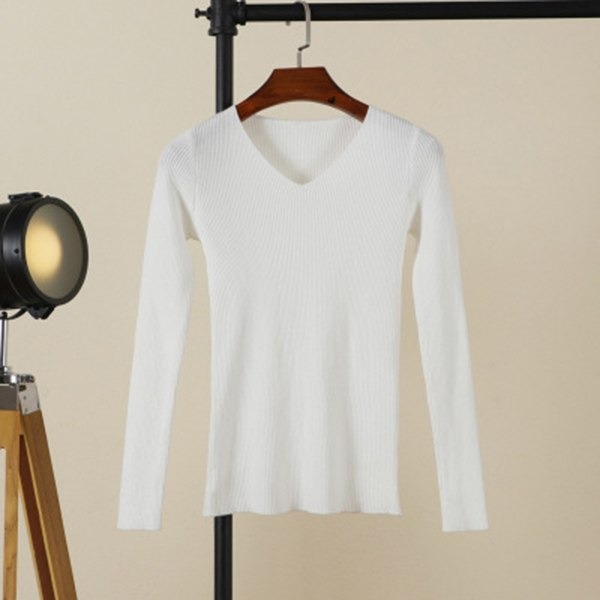 GOPLUS 2018 Autumn winter Fashion knitted Sweater Women V neck slim cotton soft Basic Sweater pullover Female casual jumper Tops-lilugal