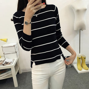 OHCLOTHING 2018 Striped collar sweater sweater autumn thin coat dress lady shirt autumn jacket female-lilugal