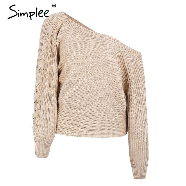 Simplee Sexy lace up winter knitted sweater pullover Women one shoulder loose sweater jumper Autumn batwing sleeve gray sweater-lilugal