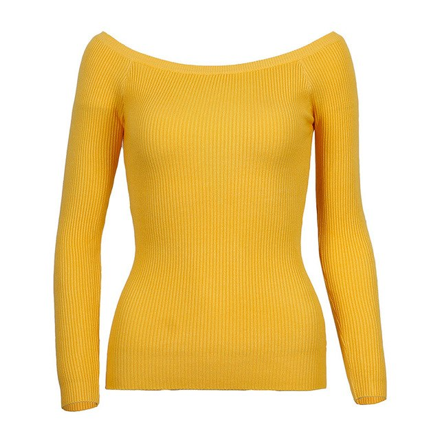 Oxdra Basic Knitted Sweaters Women Autumn Winter Elegant Slash Neck Jumpers Pullovers High Stretch Knitwear Tops For Women-lilugal