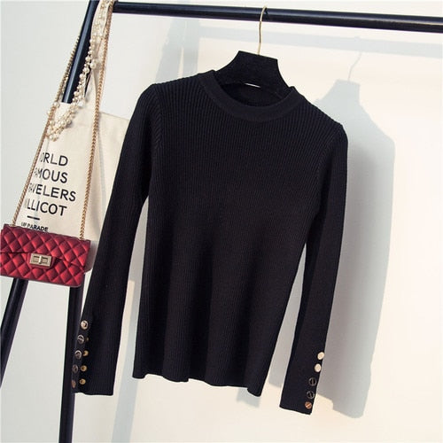 Women's Pullovers Quality Slim Fashion Sweaters Lady Female Autumn Winter 2018 New Solid Long Sleeved Knitted Tops Black White-lilugal