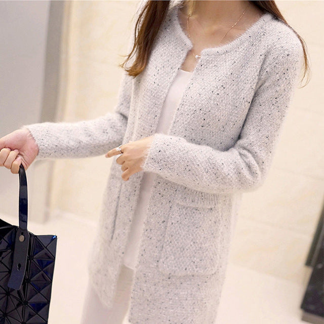 Mohair Solid Long Sleeve Cardigan Lady's Sweater O neck Pockets Fluffy Soft Autumn Warm Sweaters 2018 Winter Outwear Plus Size-lilugal