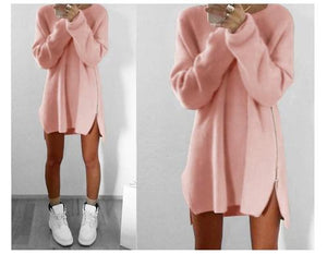 4XL casual hollow out women knitted sweaters off white O-neck long sleeve women sweater plus size winter autumn pullovers pink-lilugal