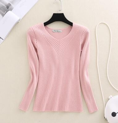 Elasticity Soft Women Sweater Autumn Pullovers Knitted Sweaters Women V Neck Sexy Slim Knit Coat Female Blouse Winter Knitwear-lilugal