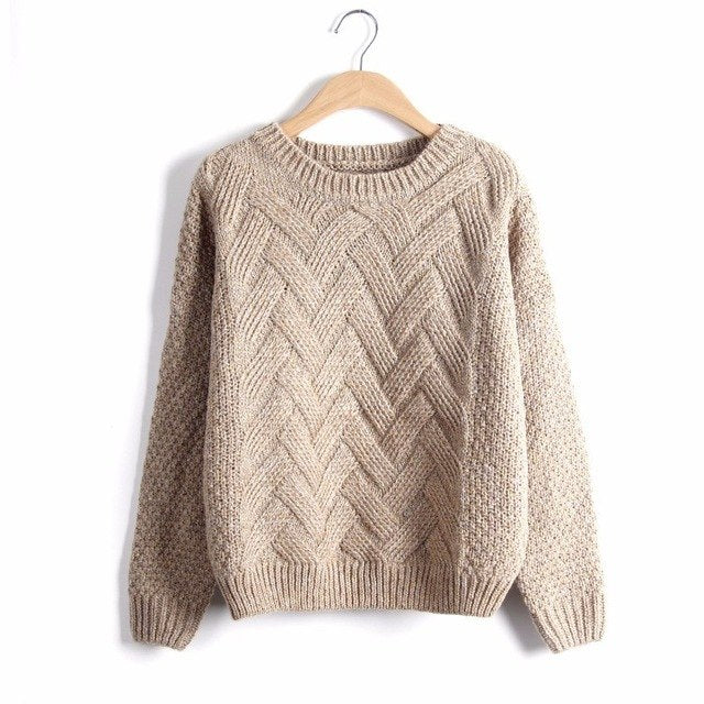 Pull Femme 2017 Autumn Winter Women Sweaters And Pullovers Plaid Thick Knitting Mohair Sweater Female Loose Crocheted Pullovers-lilugal