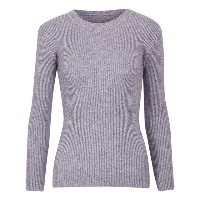 Yanueun Fashion Women All Base Match Knit Sweater Basic Long Sleeve Round Neck Pullover Tops Jumper pull femme New Hot-lilugal