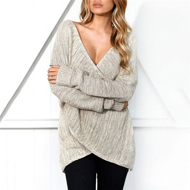 Women Sexy V Neck Cross Knitting Winter Sweater Women Autumn Pull Knit Casual Jumper Stylish Down Sleeve Pullover Female New-lilugal