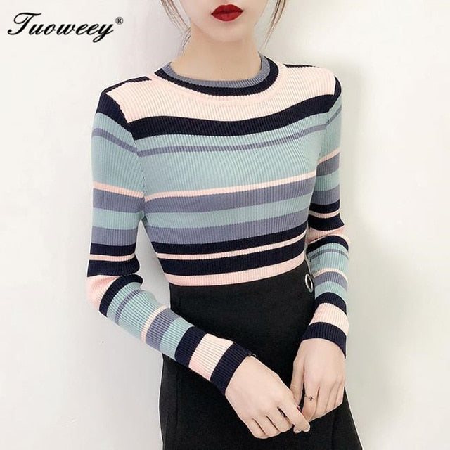 2018 Autumn Winter striped Women Sweater Fashion Casual Pullovers Sweater High Elasticity Slim Long Sleeve slim Female Jumper-lilugal