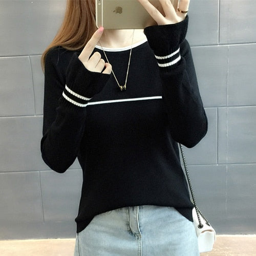 TIGENA Butterfly Sleeve Knit Sweater Women 2018 Fall Winter Jumper Women Sweaters And Pullovers Female Black White Pull Femme-lilugal