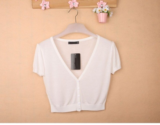 Women V-Neck Knitted Casual Loose Short Sleeve Elastic Thin Sweaters Cardigans Lady Knitting Outwear Tops For Female-lilugal