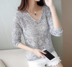 2018 Autumn Winter Women Sweater V Neck Lace Knitted Pullover Female Casual Knitwear Long Sleeve Pull Femme ZY09-lilugal
