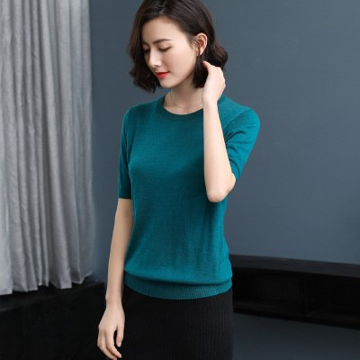 zocept Women's Casual Knitted Short Sleeve Sweater 2018 Spring Autumn Summer Cashmere Blended O-Neck Solid Color Pullovers Tees-lilugal